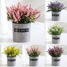 Новые искусственные цветы лаванды в горшках для свадьбы, украшения для самодельного изготовления, подарок, свадебный веночек, скрапбукинг, искусственный цветок