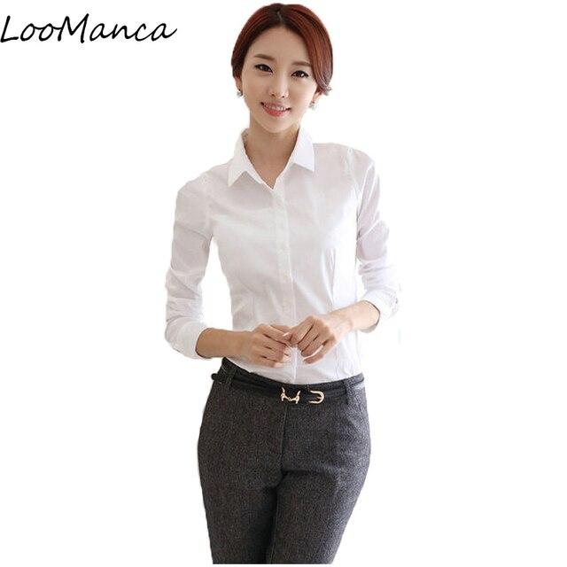 3a8343314094b Plus Size 5XL fashion Formal Women blouse Long-sleeve Turn-down collar  chiffon office shirt work wear Blusas tops white