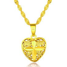 Birthday Party Fine 24K Necklace Pendant Heart Shape Design Arab Charm Female Anniversary Gift Jewelry Accessory birthday party fine 24k necklace pendant heart shape design arab charm female anniversary gift jewelry accessory