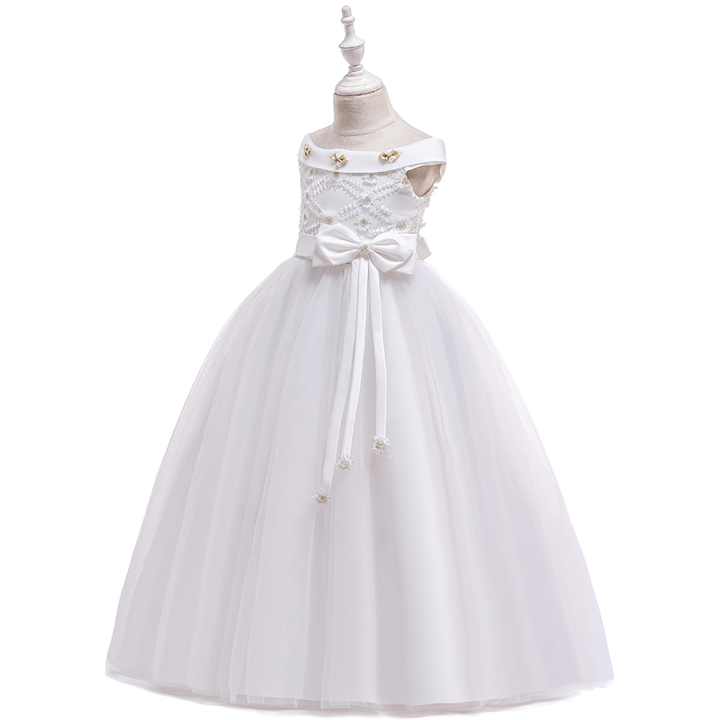 2020 Summer White One Shoulder Long Bridesmaid Dress Girl Bow Gown Kids Dresses For Girls Children Princess Party Wedding Dress