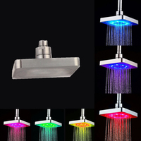 6 Inches Square LED Top Shower Heads Water Pressured Multi color Shower Heads Temperature Sensor or 7 Colors LED Shower Heads