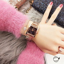 High-End Custom Chain Ladies Watch Square Rhinestone-Studded Star Surface Quartz Waterproof Tide