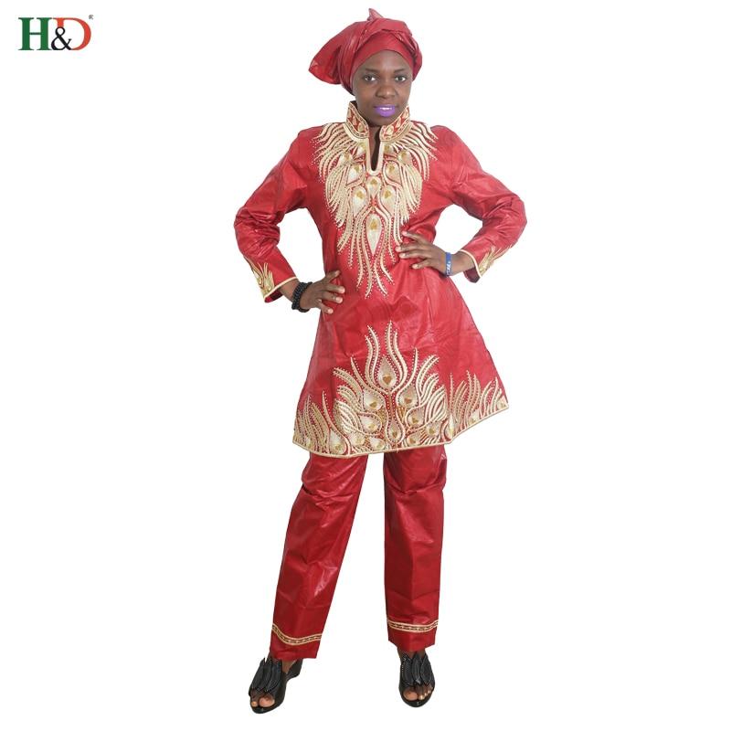 H&D envío gratis moda 2018 nueva ropa africana bazin para dama pantalones tres conjunto de 3 piezas mujeres traje pantalón superior HM68 más tamaño