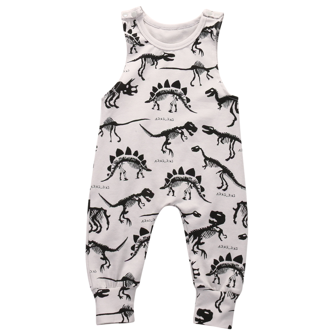 2017 Newborn Baby Dinosaur Clothes Infant Baby Girls Sleeveless Cotton Jumpsuit Romper Outfits 0-18M baby romper sets for girls newborn infant bebe clothes toddler children clothes cotton girls jumpsuit clothes suit for 3 24m