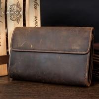 LAPOE Genuine Leather Men Wallets Crazy Horse Wallets Man Clutch Bag Phone Card Holder Male Purse Men Leather Wallet Purse