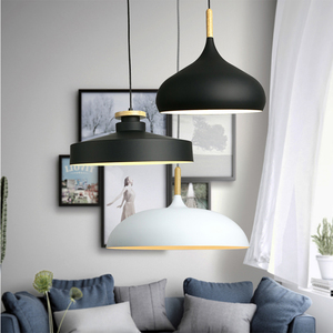 Image 3 - Modern hanging ceiling lamps  Wood aluminium E27 italian Pendant lights, House dining room decoration lighting