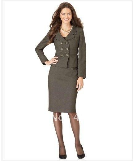 c00f73c2c07 Femmes vêtements gris femmes costume tailleur costume à manches longues  Double boutonnage cranté col Portrait veste