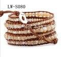 2016 New Hot sale 5 Strands Natural 4 6 8mm sea pearl Shell Leather Wrap Bracelet true Leather jewelry Bracelet Unisex LW-S080
