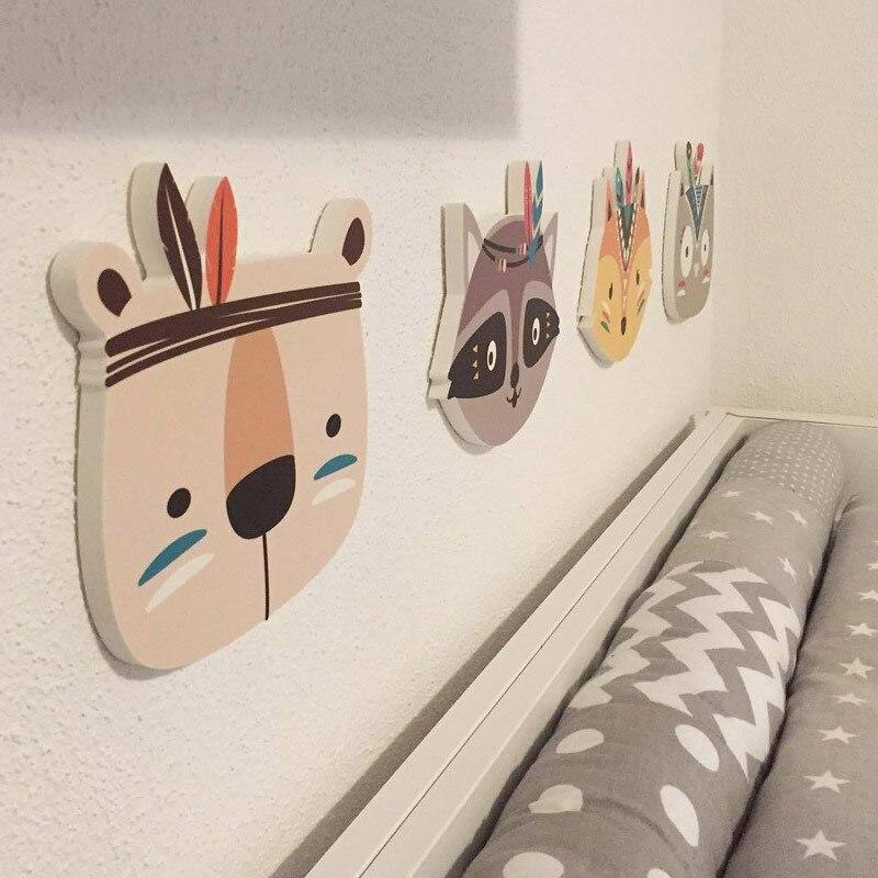 Nursery Childrens Room Boho Tribal Indian Cartoon Fox Cat Owl Bear Wall Prints Wall Sticker For Kids Baby Room Decoration Idea