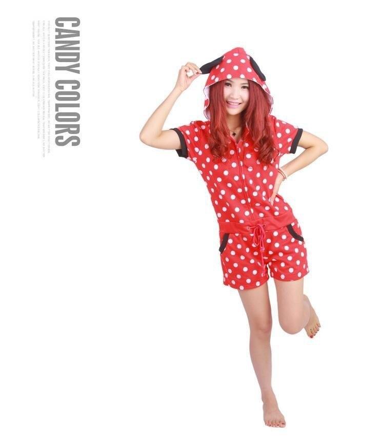 Дизайнер Kawaii Аниме Минни для женщин обувь для девочек Летний Комбинезон Onesie с ушками капюшон женский короткий рукав косплэй пижамы Топ+ шорт