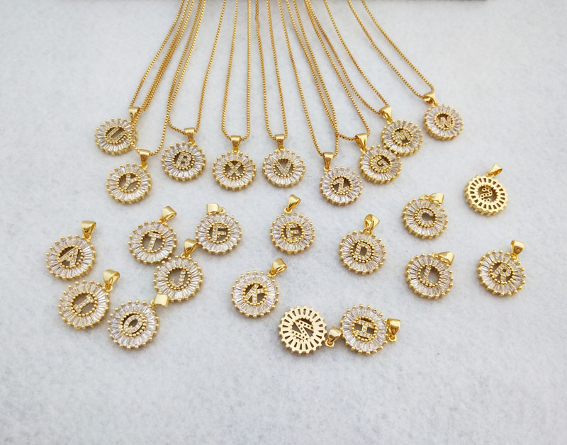 10 Pieces Gold Color Round Micro Pave Crystal Cubic Zirconia 26 Letter Pendants Charms Necklace women Jewelry making NK348