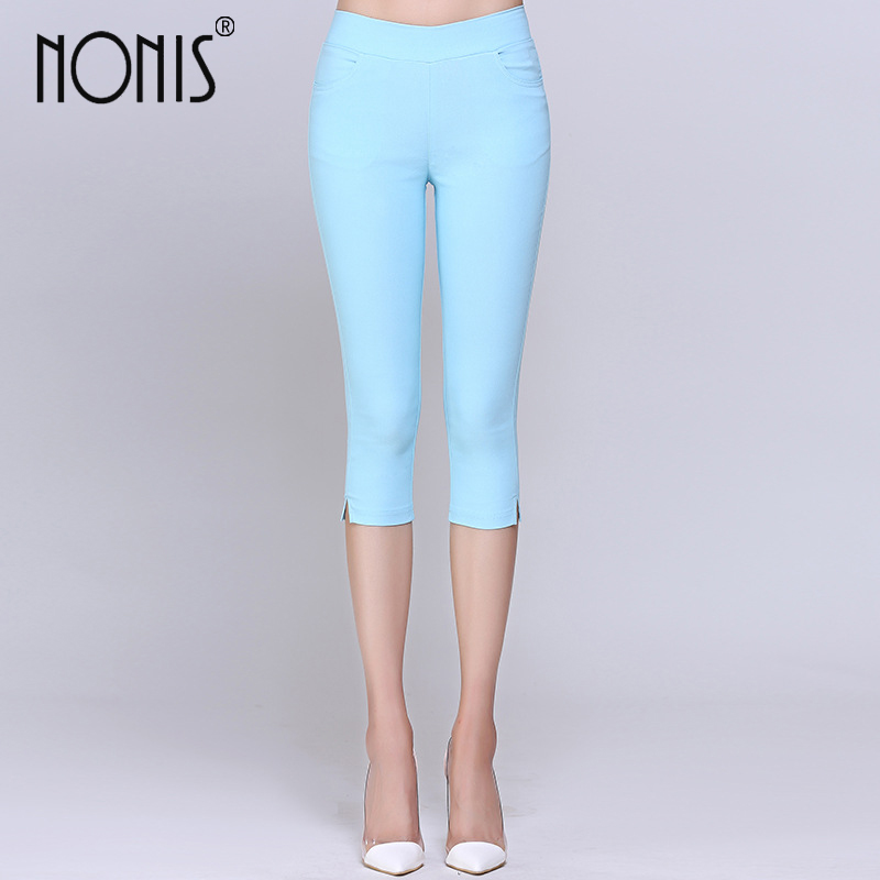 Nonis Cropped Cotton High Stretch Leggings 3/4 pants knee length legging thermal breeches women trousers Capris Pencil Pant