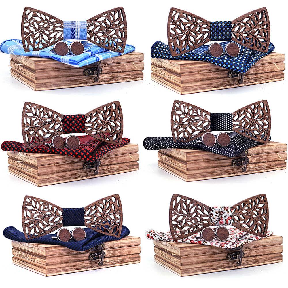 4PCS Bow Tie Set Degli Uomini BowTie e Fazzoletto Gemelli Fazzoletto Cravatta Per Festa di Nozze di Business Hombre Regalo Di Natale