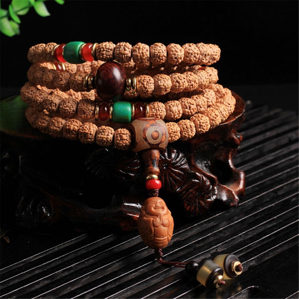 New Arrival Nepali Rudraksha 108 Mala Beads Hand String Hand Carved Olive Core Buddha Pendant Bracelet Buddhist Jewelry Dropship