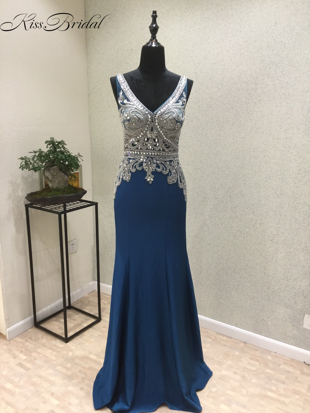 Fantastic New Mermaid   Prom     Dresses   2018 V-Neck Sleeveless Floor Length Beading Chiffon Long Evening   Dress   Vestido de festa