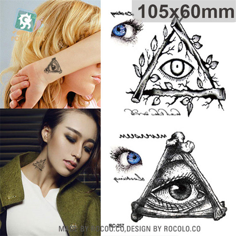 Body Art Waterproof Temporary Tattoos Paper For Men And Women Terror Triangle Eye Design Small Tattoo Sticker Wholesale RC2257