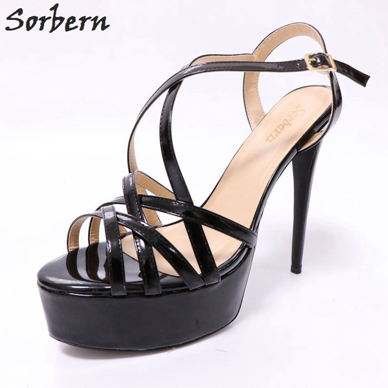 Sapatos Femininos Zapatos Mujer High Platform For Women Shoes Ankle Strap Thin High Heels Cross-tied Dress For Lady Sandals alluring spaghetti strap flounced crisss cross dress for women