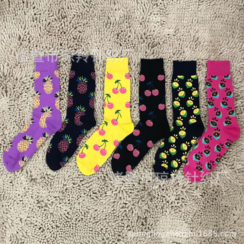 Fashion Personality Men Fun Socks Cotton Jacquard Pineapple Cherry Lemon Men/women Premium Quality Harajuku Casual Socks sokken