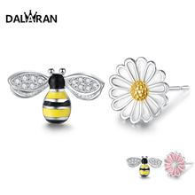 DALARAN 925 Silver Daisy Bee Stud Earrings Sterling Prevent Allergy Exquisite Korean Style For Women Jewelry Gift