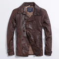 Men's Leather Jacket Double-Breasted Leather Coat Slim Sheep Skin Coat Long Section Of Casual Men