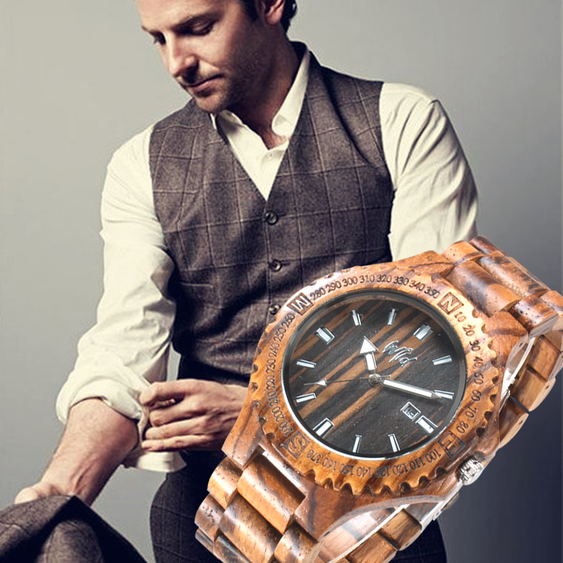 купить Quartz Zebrawood Watch Men Zebra Business Casual  Wood Watch Japan Miyota Movement Wristwatch Wooden Man Wrist Watch онлайн