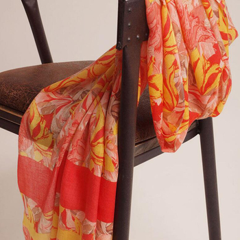 Silk And Cashmere Scarf Women Winter Summer Printed Yellow Scarfs Natural Fabric Scarves Soft Warm High Quality Free Shipping