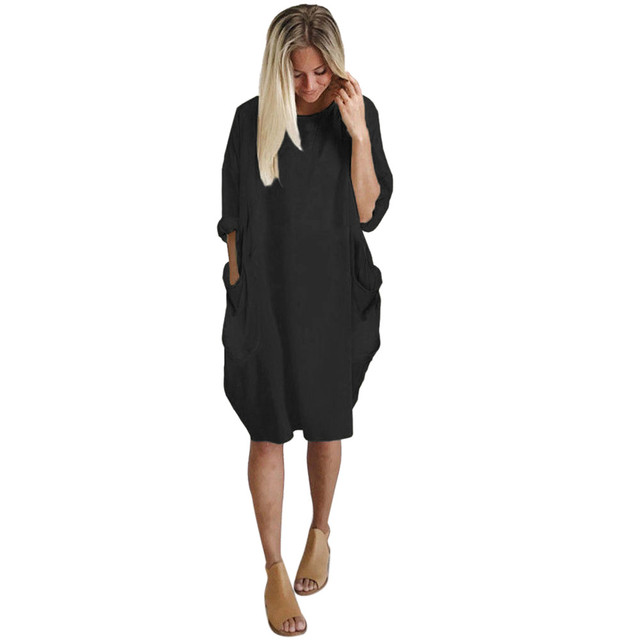 Autumn Womens dresses Pocket Loose Dress Ladies Crew Neck Casual Long girl Tops Dress female fashion big vestido