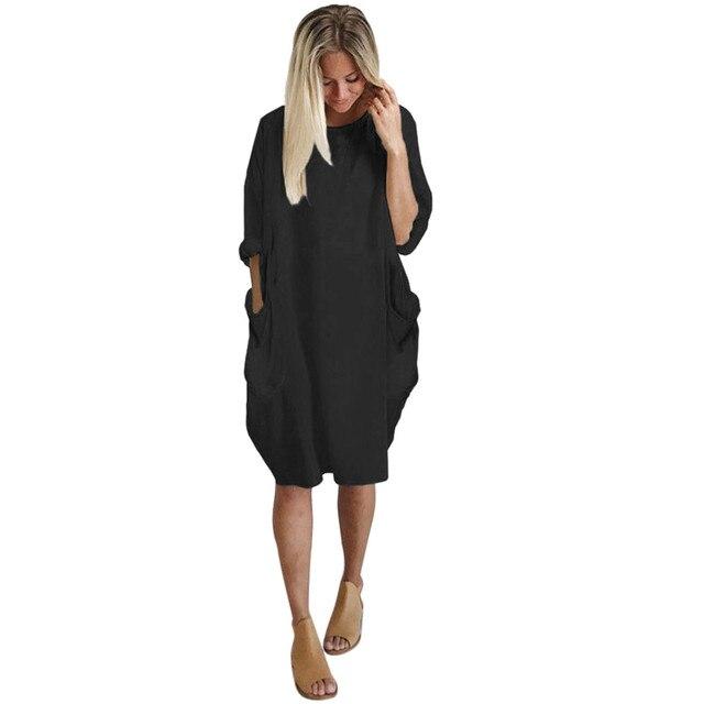 Vestidos de otoño para mujer vestido suelto de bolsillo cuello redondo de Mujer Tops largos casuales de chica vestido de moda femenina vestido grande