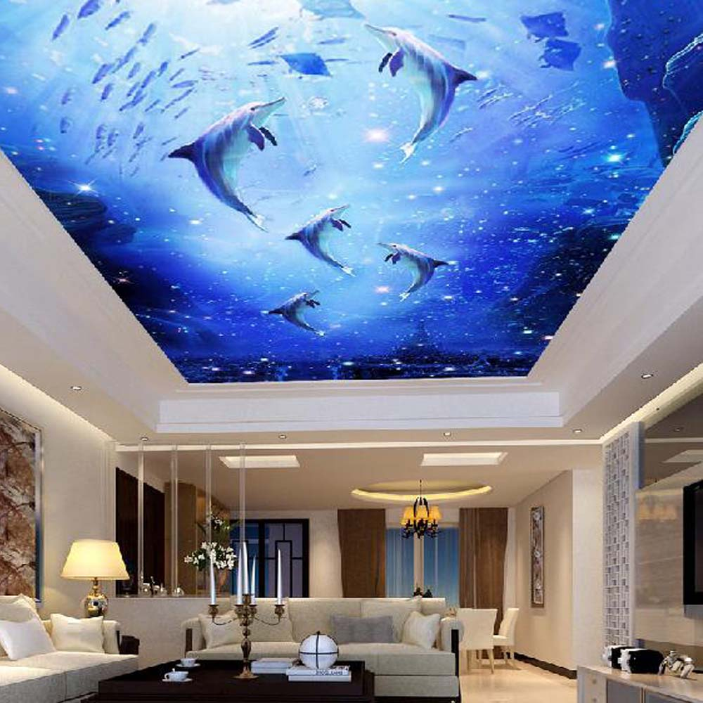 Papel Mural Sea World fish Dolphin Wallpapers for Ceilings