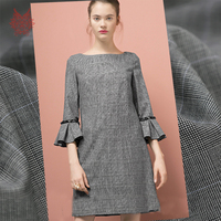 British style grey melange plaid yarn dyed 100% wool woolen fabric for autumn winter coat cloth telas tecidos stoffen SP4511