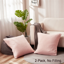 PHF Jacquard Decorative Pillowcase One Pair Solid Color Cotton Pillow Cover
