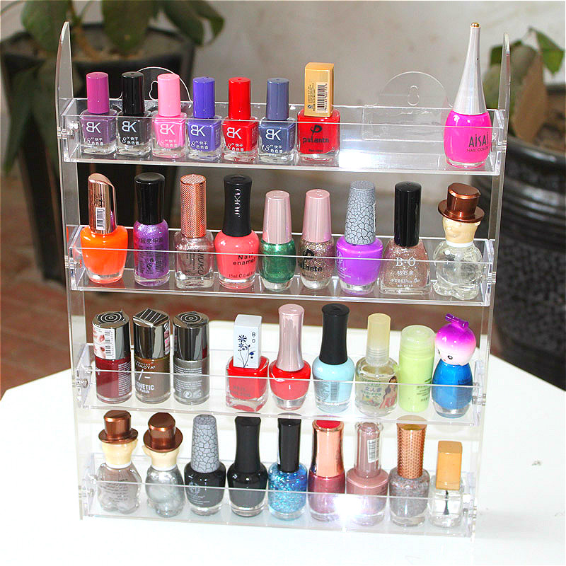 Wall Mounted Nail Polish Display Rack 4 Layers Removable Nail Polish Display Rack Hanging Wall Nail Polish Exhibition Rack