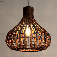New Creative Retro Countryside handmade Southeast Asian bamboo lamp rattan lights balcony pendant lights Hemp Rope Vintage Lamp