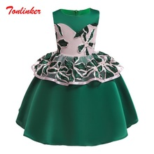 купить Girls Green Flowers Embroidery Birthday Elegant Princess Sleeveless Dresses Girls Wedding Theme Party Dress Ball Gown дешево