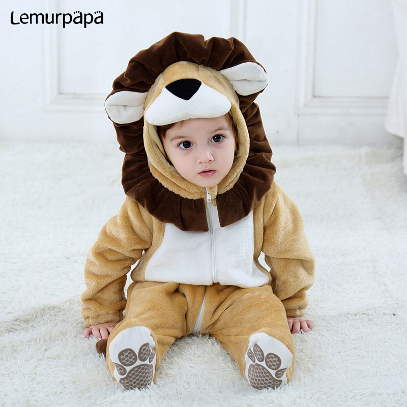 Baby Lion Onesie Animal Costume Toddler Boy Girl Long Sleeve Romper Funny Cute Warm Clothes Child Kid 0-3 Years Infant Kigurumi
