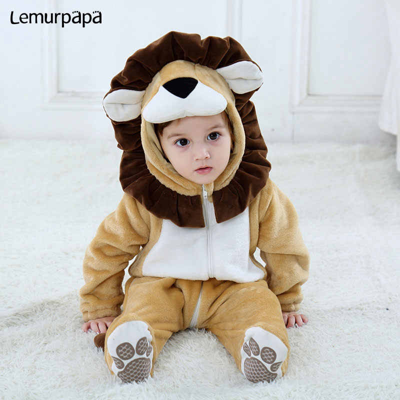 Baby Lion Onesie Animal Costume Toddler Boy Girl Long Sleeve Romper Funny Cute Warm Clothes Child Kid 0-3 years Infant Kigurumis