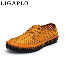 Men Shoes Genuine Leather Summer Casual shoes Breathable Soft Driving Men's Handmade chaussure homme Net Surface Loafers LIGAPLO