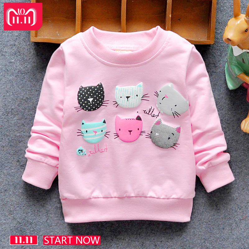2018 New Arrival Baby Girls Sweatshirts Winter Spring Autumn Child hoodies 6 Cats long sleeves sweater kids T-shirt clothes недорго, оригинальная цена