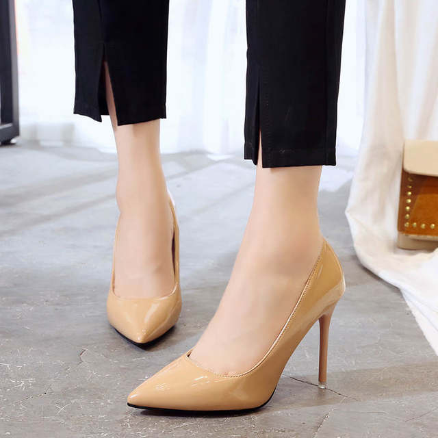 2019 HOT Women Shoes Pointed Toe Pumps Patent Leather Dress  High Heels Boat Shoes Wedding Shoes Zapatos Mujer Blue White 39