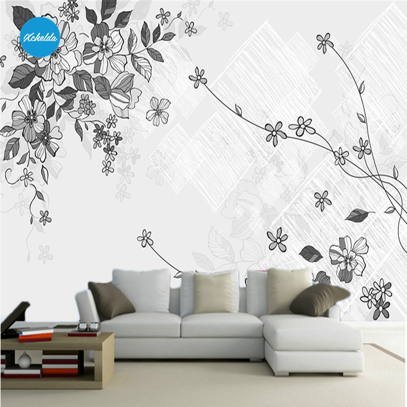 XCHELDA 3D Mural Wallpapers Custom Painting Watercolor Flower Design Background Bedroom Living Room Wall Murals Papel De Parede custom 3d wall murals wallpaper luxury silk diamond home decoration wall art mural painting living room bedroom papel de parede