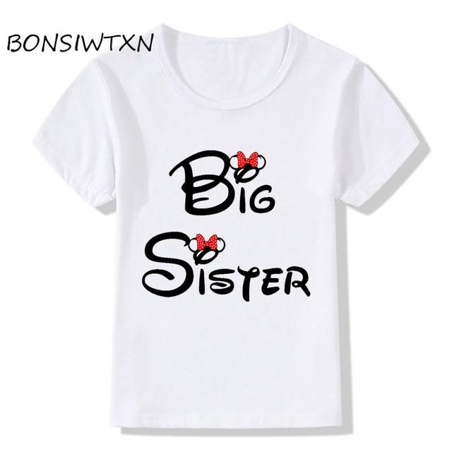 c6069dac BONSIWTXN Children Big Sister Print Funny T-Shirts Kids Summer Wear Top  Teen Girls Short Sleeve Clothes Casual Baby T shirt