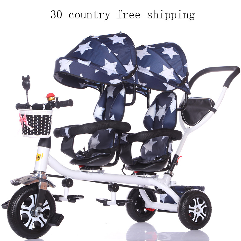 Light twin tricycle baby bike stroller two baby twin trolley 1 8 years old stroller rain cover as free gift