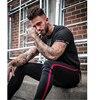 Mens Side Stripe Skinny Fit Black Denim Jeans Hip Hop Streetwear Solid Color Plus Size Slim Fit Lightweight Cotton Jeans for Men 10