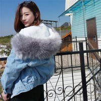 2018 New Women Winter Warm Denim Jacket Faux Fur Collar Casual Denim Trucker Jacket Coat LBY2018