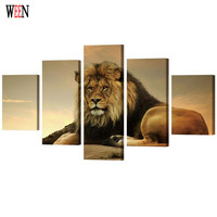 WEEN Framed HD Print Large Lion Wall Pictures Art Directly Handed 5 Piece Animal Poster For