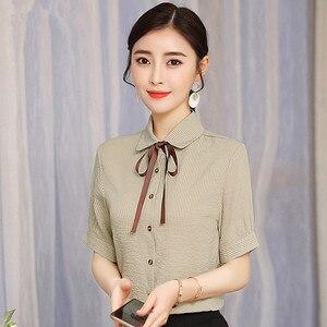 Image 4 - 2019 nuevo elegante verano de las mujeres camisa de moda corto formal manga rayas finas blusa de las señoras de la oficina trabajo tops