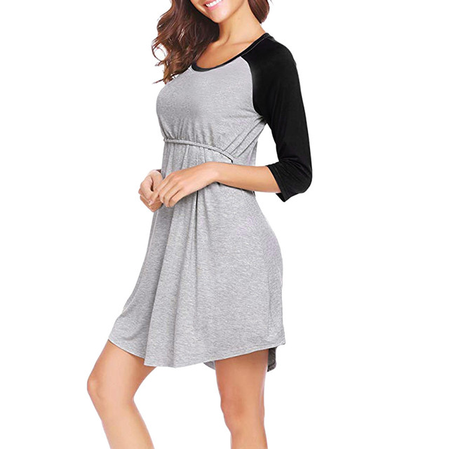 Crew Neck Maternity Dress Nightgown