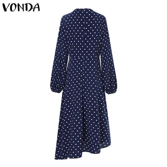 2019 الخريف اللباس VONDA نقطة المطبوعة خمر وزرة فستان صيفي الشاطئ Vestidos إمرأة مساء حزب رداء فام مثير فستان الشمس 3