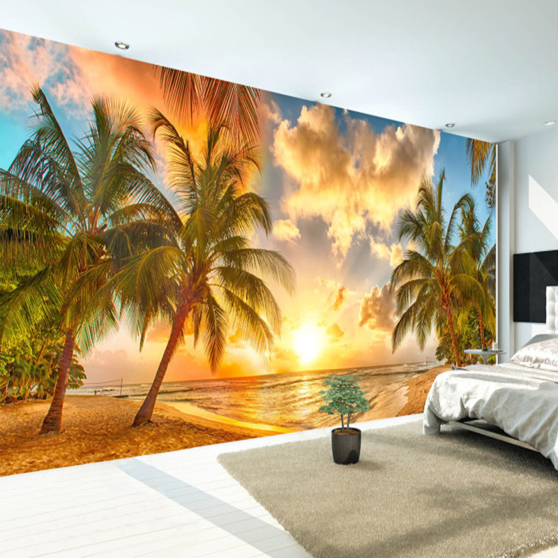 Custom 3D Nature Mural Wallpaper Nature Scenery For Walls Sunset Sea Coconut Beach HD Background Wall Living Room Wall Papers 3D