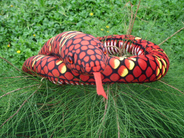plush red snake toy creative big pattern python toy new gift toy about 280cm